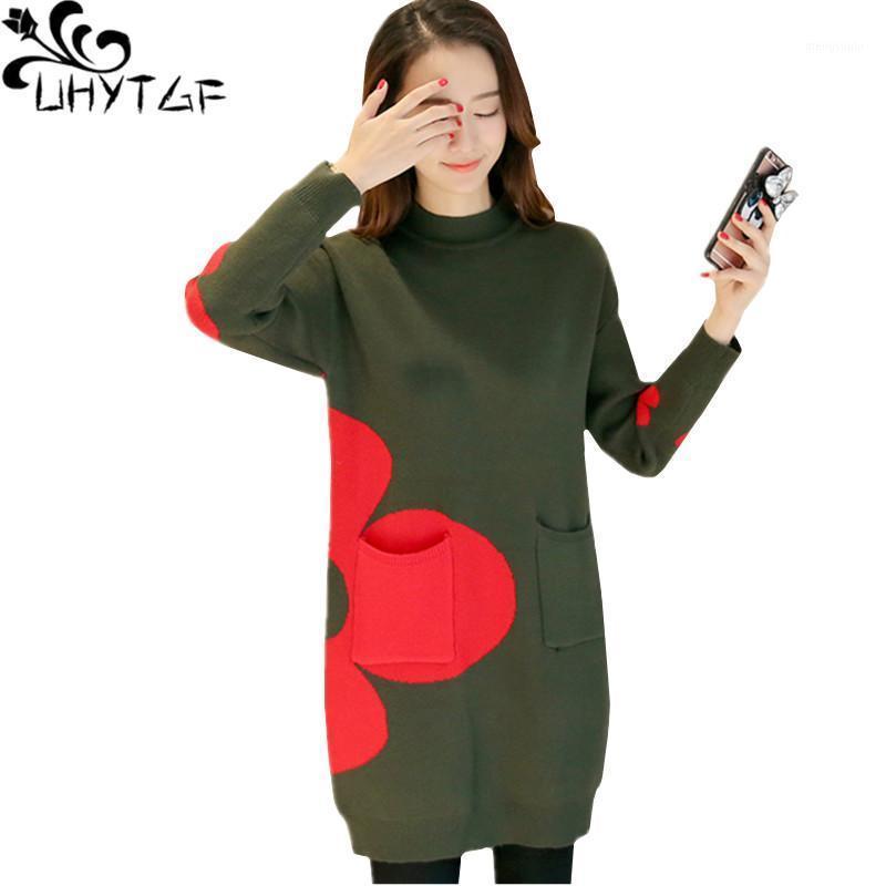 UhyTGF Pull Spring Pull Femme Pochette Femme Pull tricoté élégante manteau de pull femelle mi-longueur occasionnel Plus Taille de taille 8381