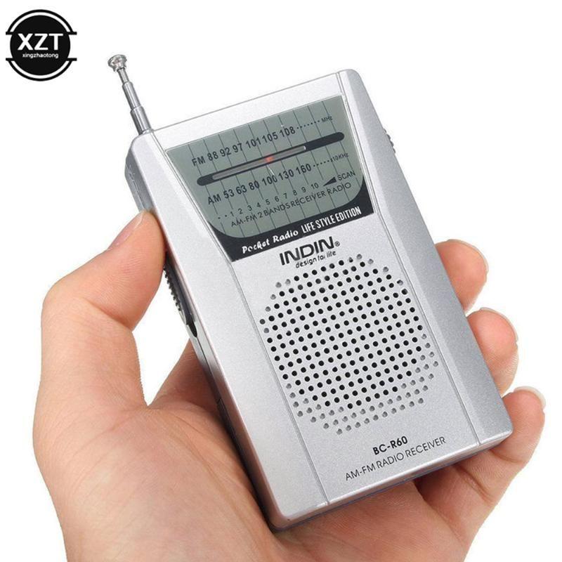 BC-R60 Pocket Radio ANTENNA MINI AM / FM 2-Band Radio World Récepteur avec haut-parleur 3.5mm Écouteur Jack Portable