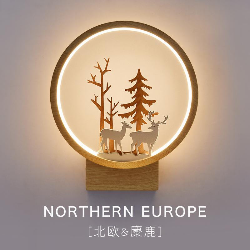 Настенная лампа Nordic Creative Beart Housside Спальня Гостиная Современный Простой Простой Ветер Коридор Лестницы Оригинальный Олень Свечаемый Прекрасный