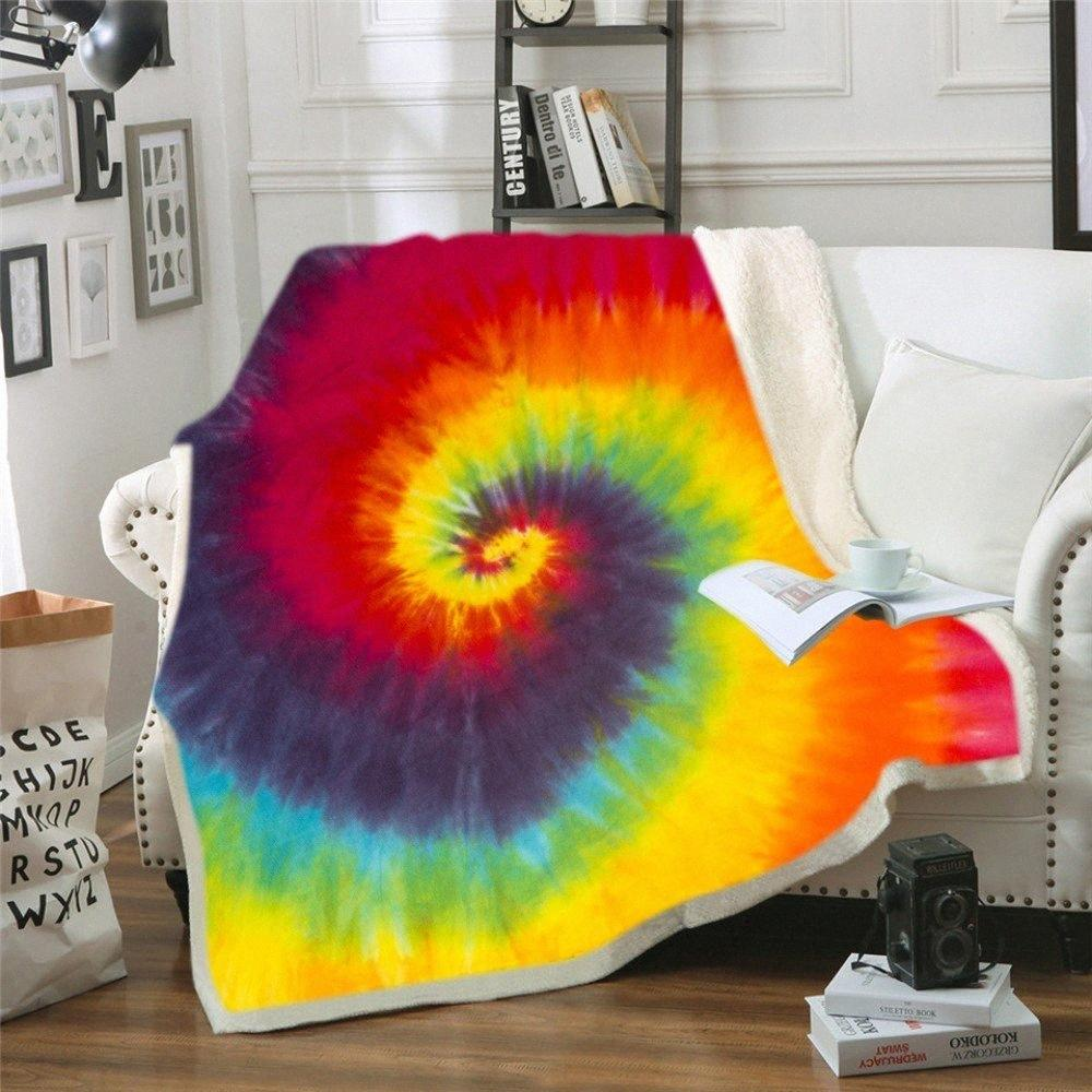 Watercolored Blanket Floral Pattern Throw Blanket Hippie Style Sherpa Fleece Warm Thick For Adults Nap For Sofa 1CuY#