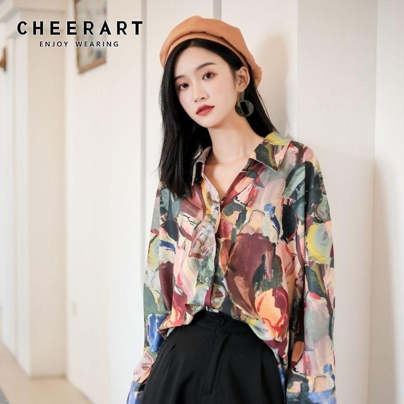 Cheerart Güz Bayan Üstleri Ve Bluzlar Uzun Kollu Düğme Yukarı Gömlek Empresyonizm Baskı Bluz Tasarımcı Gömlek Giysileri 201201