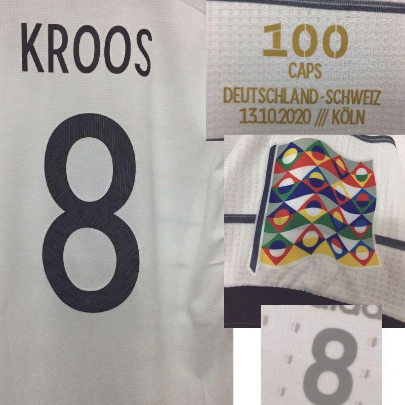 2020 Correspondente Jogador desgastado Kroos 100 Caps Jogo Memória Maillot com Details Detalhes Futebol Camisa Americana Futebol da faculdade