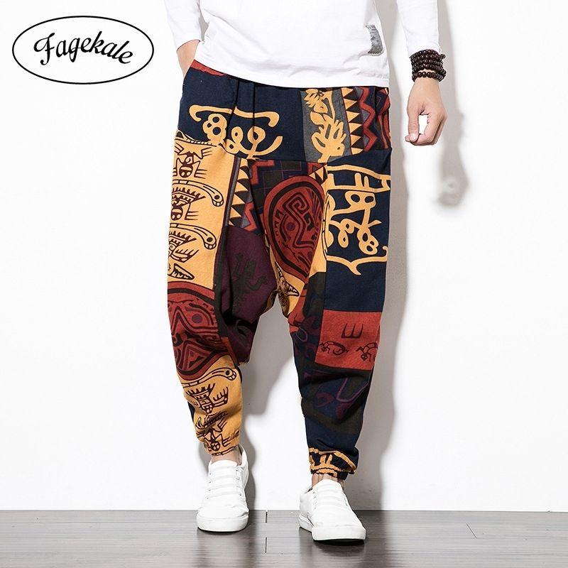 Nuevos hombres estilo chino algodón y lino linterna pantalones casuales impresión masculina pantalones largos de moda de gran tamaño de alto tamaño suelto hip-hop pantalones y201123