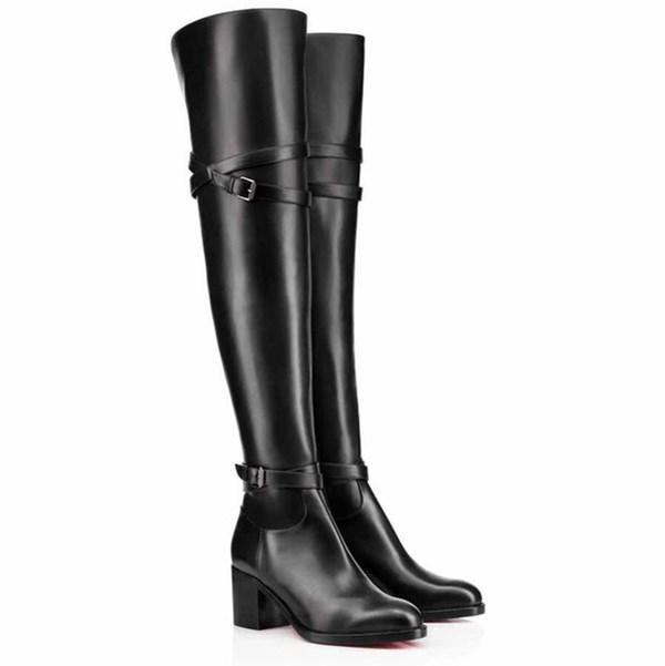 Winter berühmte Luxus-rote Unterseite Karialta Schwarz-echtes Leder-reizvolle Dame hohe Aufladungen Schenkel-hohe Stiefel Sexy Lady über Knie-Stiefel EU35-43
