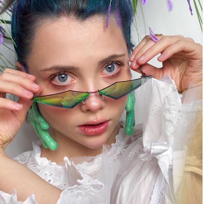 Brand Fashion Designer occhio di gatto Mezza cornice degli occhiali da sole donne dell'annata del metallo riflettente Occhiali a specchio per le donne