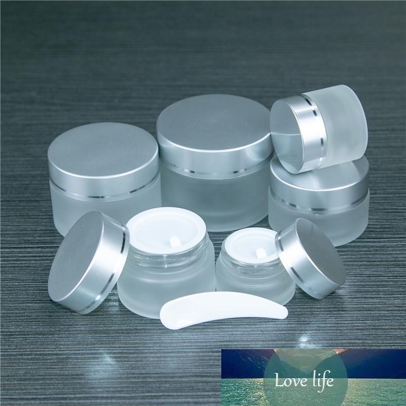 10pcs 5ml 10ml 20ml 50ml Cam Krem Kavanozlar Gümüş Kaçak Kanıtı Cap Cilt Bakımı Göz Yüz Kremi Kozmetik Konteynerleri Şişeler
