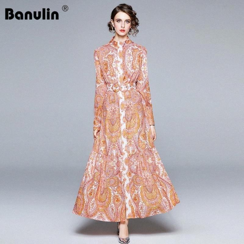 Banulin Spring Autumn Runway Long Maxi Dress Womens Long Lantern Sleeve Single Breasted Ruffles Bodycon Dress With Belt a93R#
