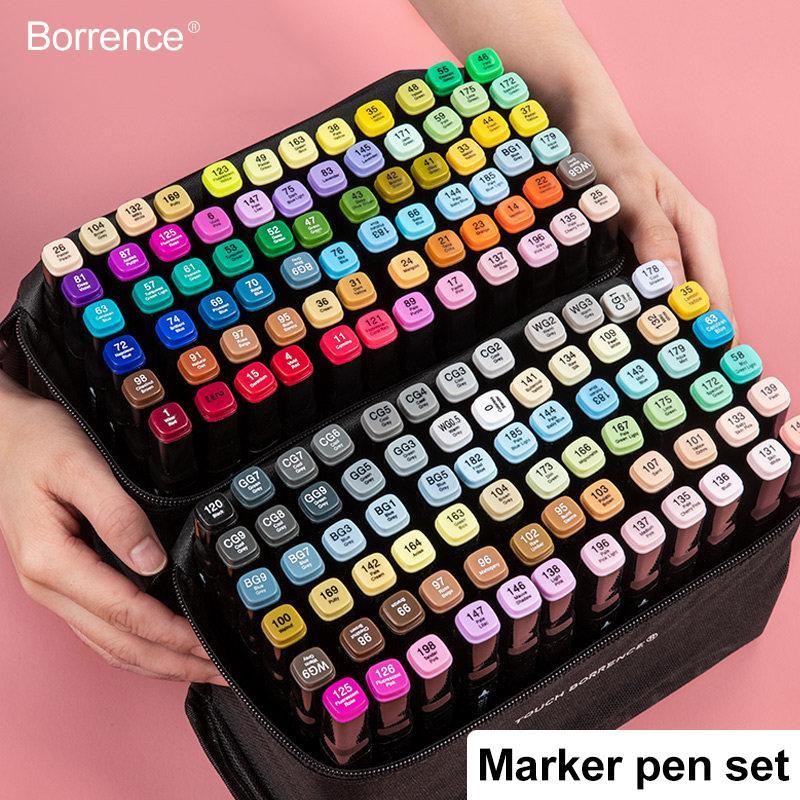 Borrence 30/40/60/80/168 couleur Marqueurs Set Manga Dessin Marqueurs stylo à base d'alcool Sketch-feutre Fournitures double brosse Pen Art