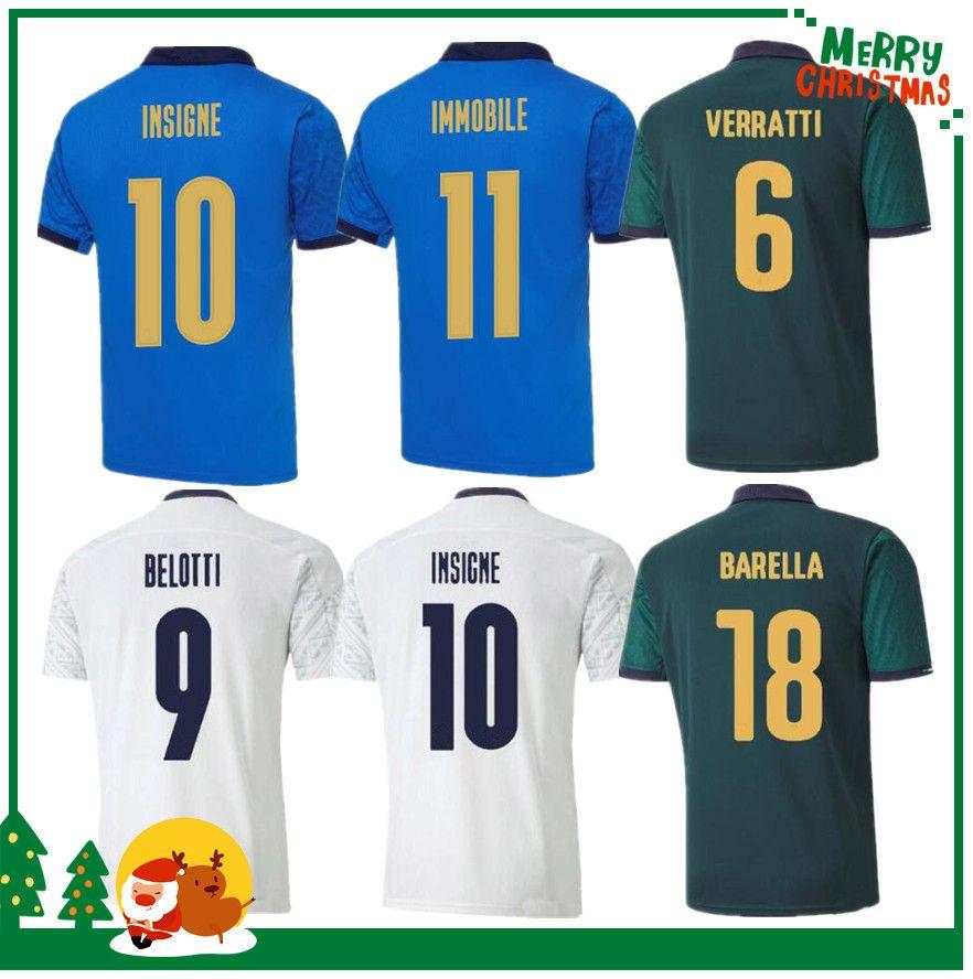Italia 2020 2021 Jersey de fútbol Home Away Jorginho El Shaarawy Bonucci Insigne Bernardedeschi Hombres adultos + Kit Kit Football Shirts