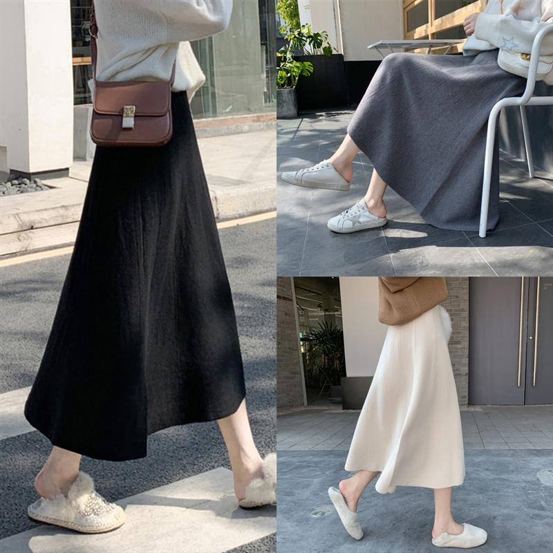 MiLnC dress Womens girl Fashion Sweet Knitting Velet Pleated Slimming Skirts Crotch Cover Skirt Natural Color Emprie Vintage Skirts Street