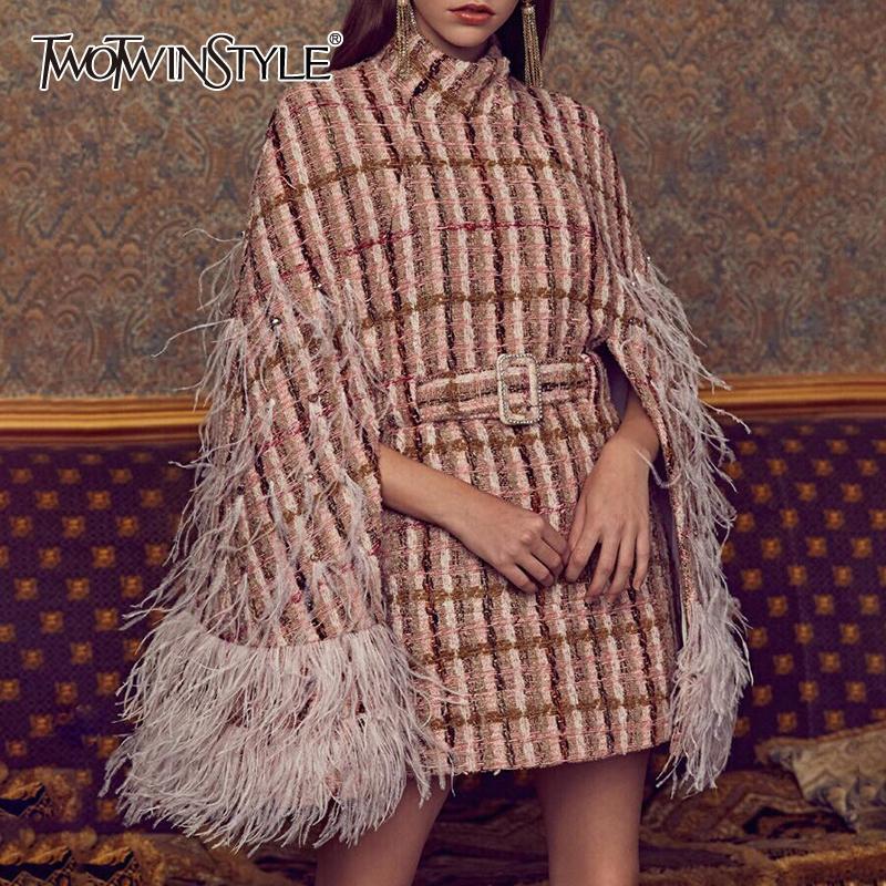 Twotwinstyle patchwork penas diamantes xadrez mulheres casacos de turtleneck capa alta cintura alta com sohes moda roupas 201015