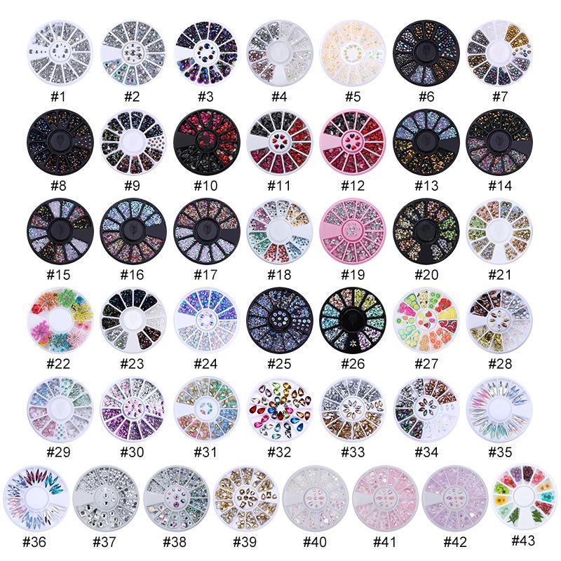 Çeşitli Tırnak Rhinestones Kristal Elmas Takı Kuru Çiçekler Opal Rhinestone DIY Craft Karışık Aksesuarları Çivi Sanat Dekorasyon