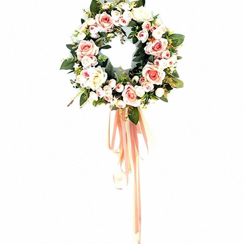 Горячий зеленый Искусственная роза Венок двери висячего окна Украшение Венок отдыха Фестиваль Свадебный декор 32см Yryo #