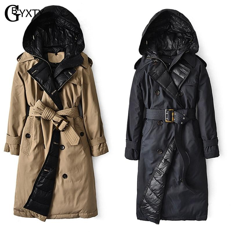 Gbyxty British Coat 2020 Winter Women Hooded Long Thick Duck Down Trench Jacket Puffer Feather Parka Mujer Za2147