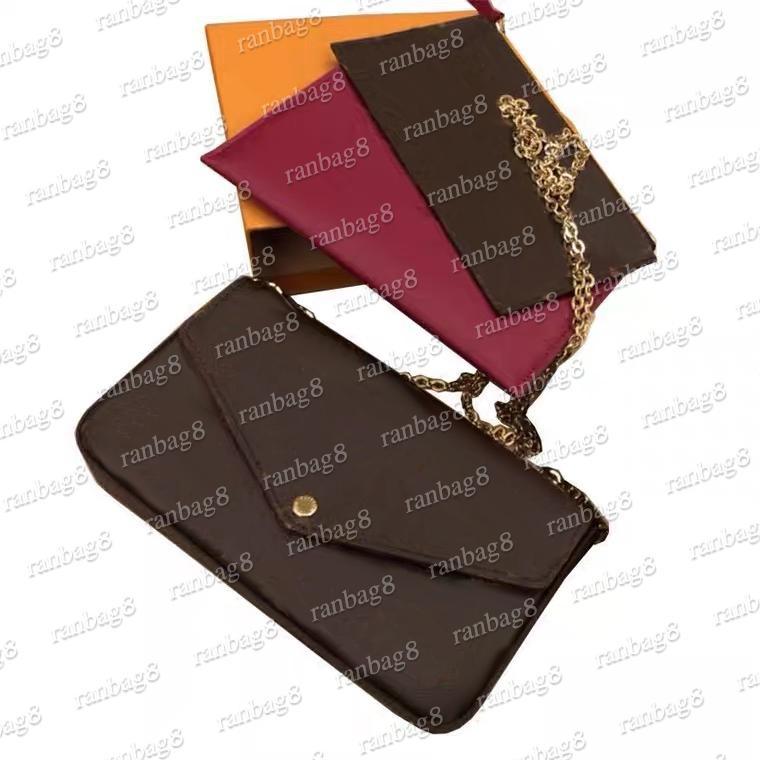 Blume Pochette Handtasche Tasche Umhängetaschen Überprüfen Sie zwei Originaltaschen 3in 1 Taschen Box mit Plaid entfernt Crossbody Chain Damen Kleine VXNVA