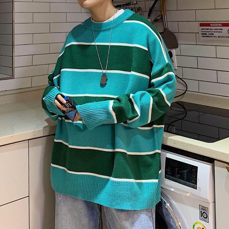 Di colore di modo allentato 2020 Inverno uomo a righe larghe a maglia girocollo Pullover maglione casuale semplice di vestiti della gioventù Taglia M-2XL