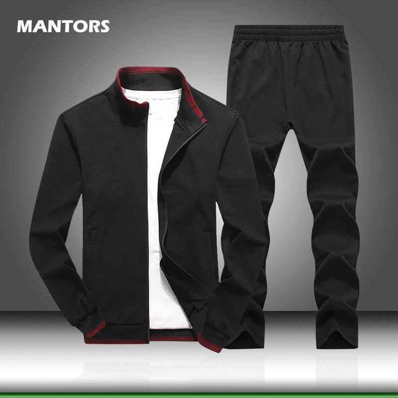 İki Parçalı Set erkek Eşofman İlkbahar Sonbahar Katı Renk Erkekler Set Marka Spor Ceket + Pantolon Sweatsuits Artı Boyutu Giyim 5XL 201109