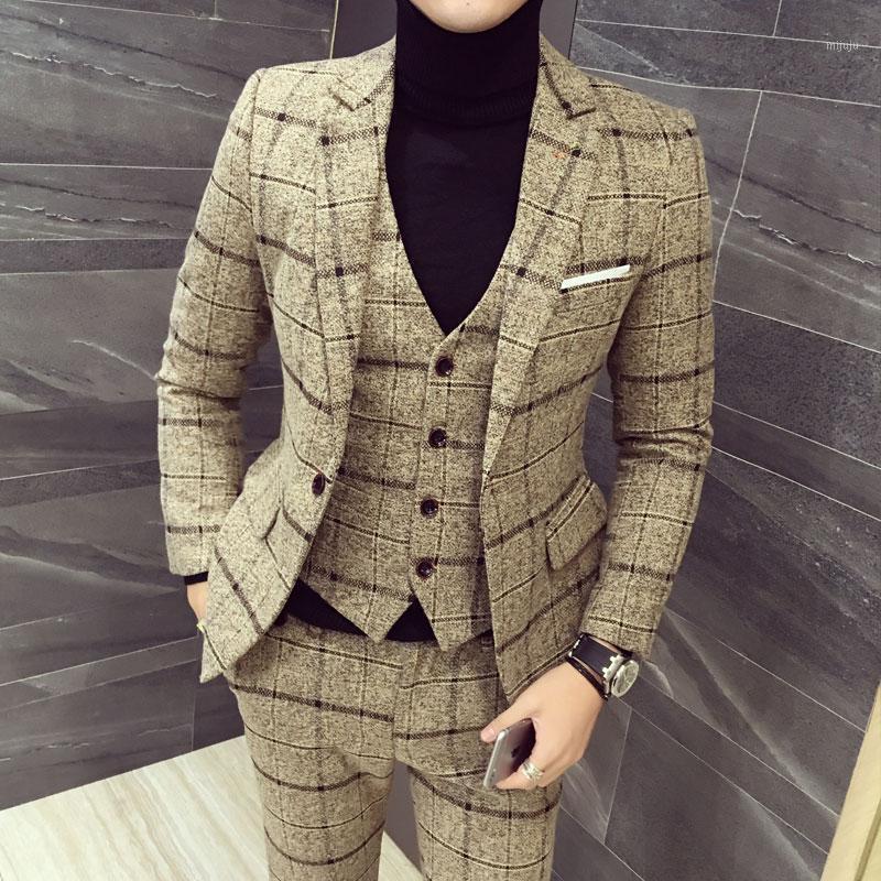 Мужские костюмы Blazers костюм куртка + жилет + брюки три чашки набор мужской плед азия размер M-5XL высококачественный смокинг Mens1