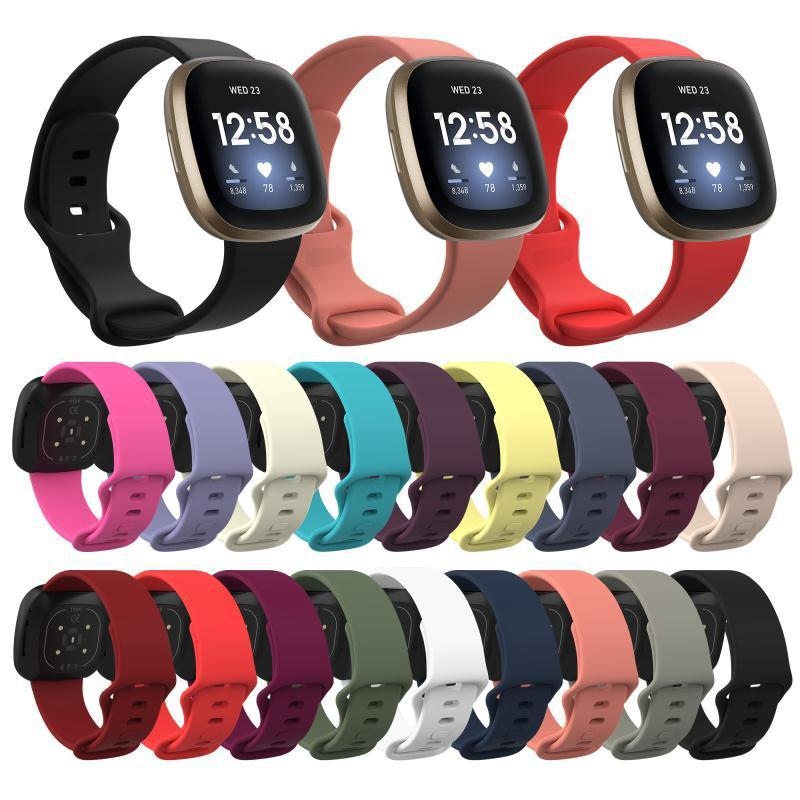 Резиновый TPE Гибкая Комфортная кожи ремни Смарт часы ремешок для Fitbit Versa 3 Sense Versa 2 Lite