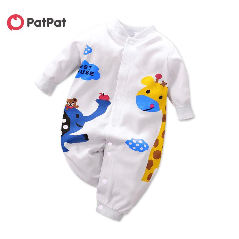 Patpat Nouveau 0-1 Ans bébé garçon et fille Belle impression de girafe Jumpsuit Une pièce Vêtements bébé garçon 201116