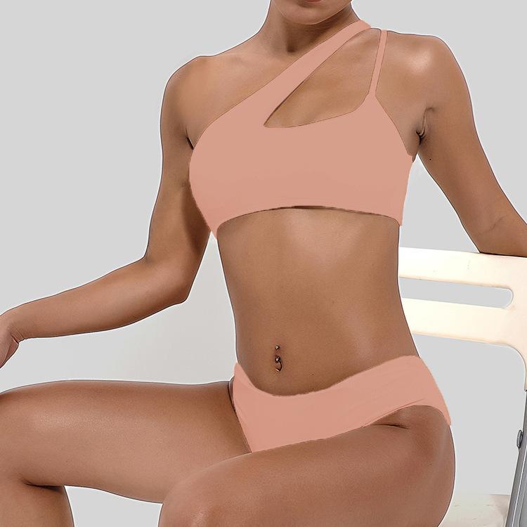 Bayan Bikini Mayo Katı Renk Hollow Tankinis Tek Omuz Backless Mayo Yaz Kadın Seksi Plaj Yüzme Giysileri