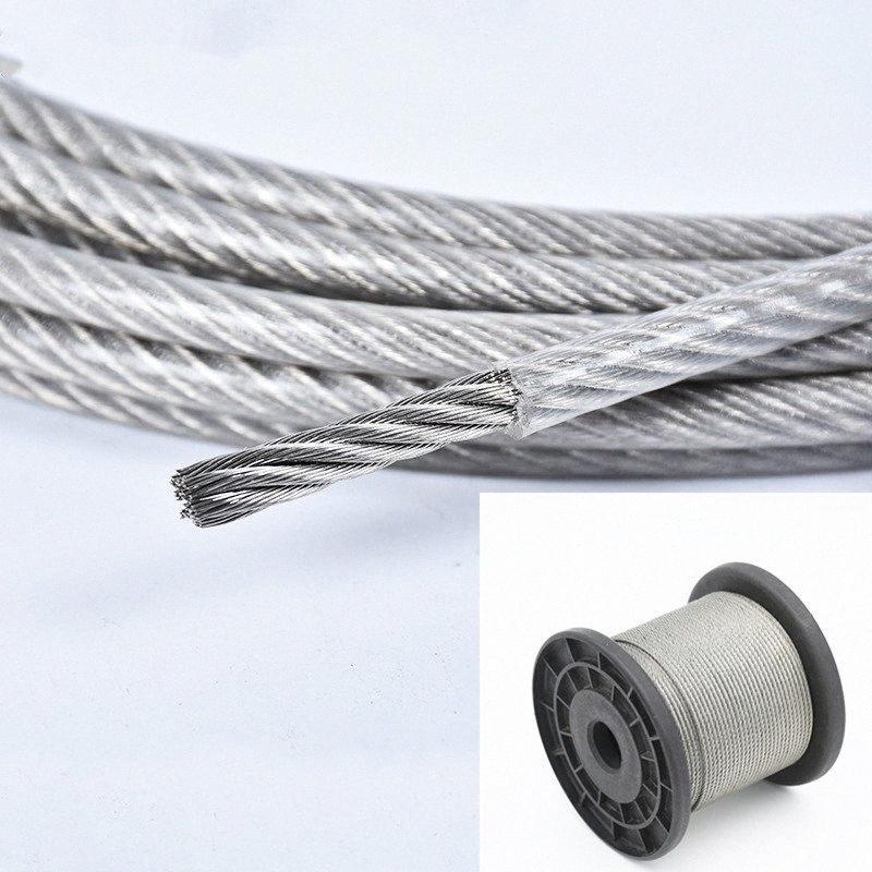 10 recubierto Meter acero PVC alambre flexible cuerda suave cable transparente acero inoxidable Tendedero 1 mm de diámetro de 1,2 mm 1,5 mm 2 mm 3 mm RPer #
