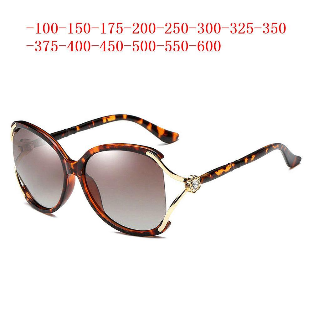 Les femmes diamant lunettes de soleil polarisées brownMyopia objectif Vintage Prescription Lunettes de soleil Femme Lunettes rondes UV400 FML
