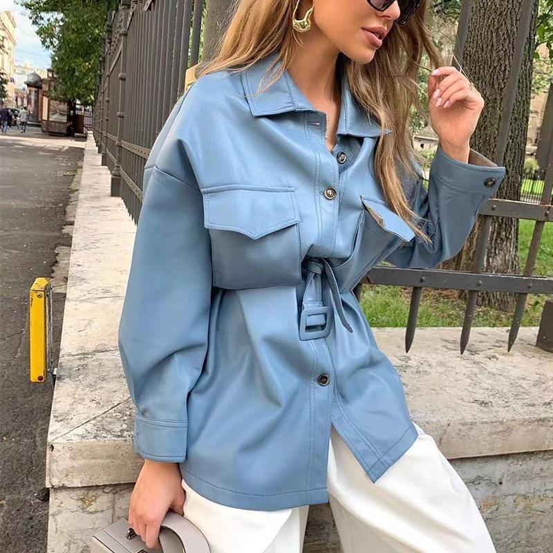 2020 Brown PU chaqueta de cuero de imitación de las mujeres de moda abrigos de sexo femenino fresco señoras chaqueta de la capa de la cintura del lazo de la correa de las mujeres elegantes