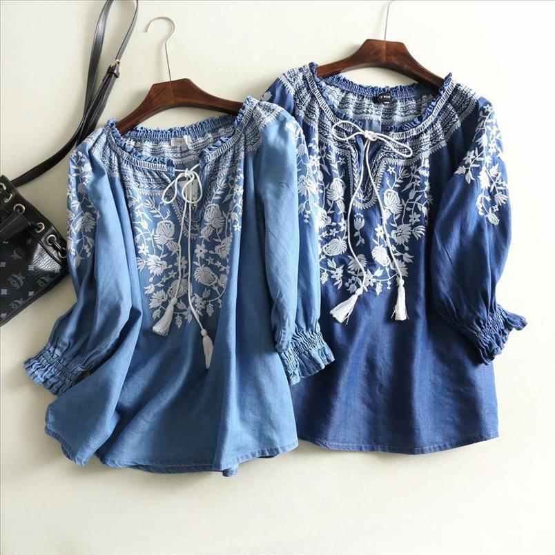 2020 nuevo de la manera del resorte del dril de algodón ocasional de la camisa de las mujeres V del cuello de la borla floja Boho étnico de la vendimia del bordado de la blusa Tops Blusa Femenina