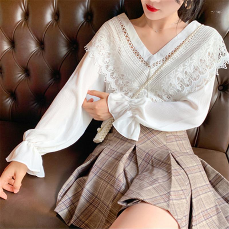 Alta qualità Nuova Stylish Blusa Camicia Patchwork Pizzo Ruffle Sexy Neck V-Neck Flare Manica Camicia Chiffon BlusAS Femmina Tops 20201