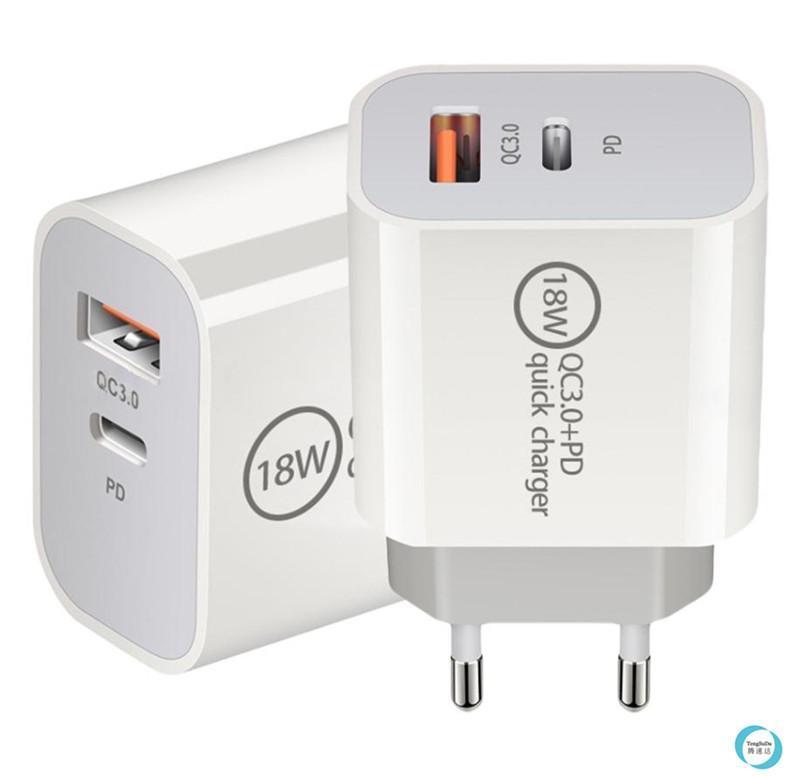 18W PD USB C 벽 충전기 18W 전원 배달 PD 빠른 충전기 어댑터 유형 C 충전기 US UK EU 플러그 Samsung Smatphone에 대한 빠른 충전