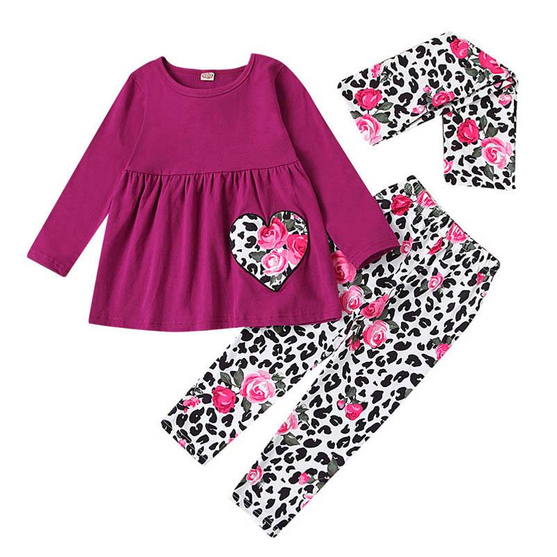 Love 0-3Y Leopard Girls Suits Baby Outfits Toddler Clothes Infant Sets Cotton Long Sleeve Tops+Leggings+Scarf 3Pcs B3773