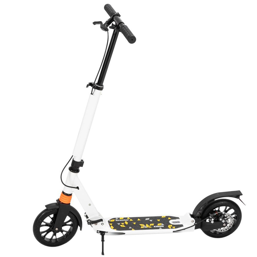 Aleación de aluminio adulto scooter juventud, 3 altura ajustable fácilmente plegable doble amortiguador doble freno moda deportes blanco negro