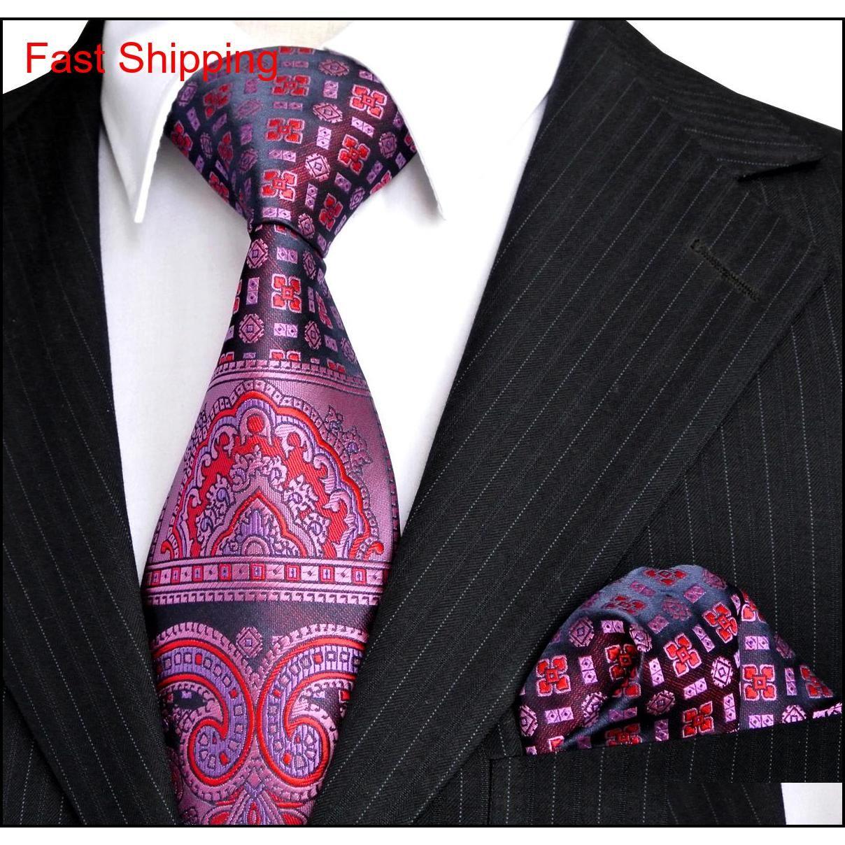 E4 kravat setleri pembe lacivert mor çiçek desenli erkek kravat mendil 100% ipek qylmyo homes2007