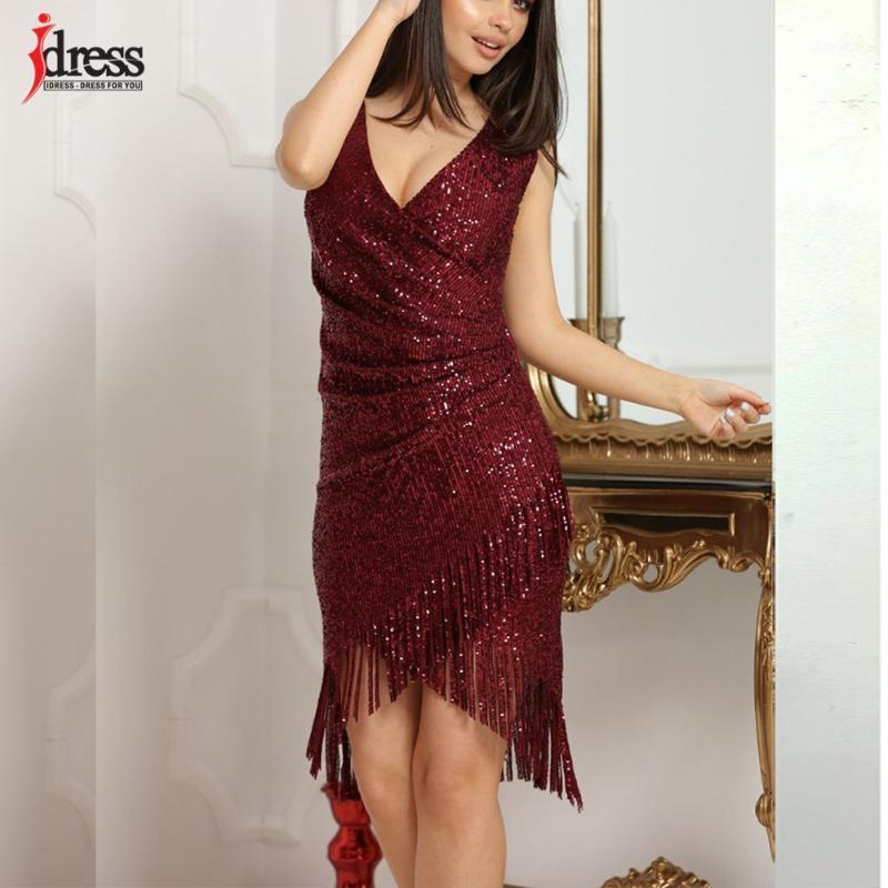 Idress Plus Zise Kadın 2021 Vestido De Mujer Giyim Dantel Gece Elbise Bodycon Püskül Noel Elbise Kadın Payetli Red1