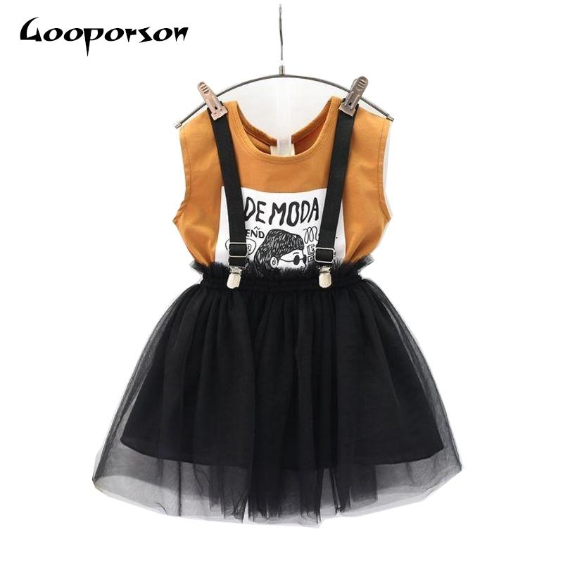 Ropa de niñas Set Summer Brown Shirt General 2 PCS Ropa para niños Conjunto de ropa para niños Muchacha ropa ropa lindos 20126