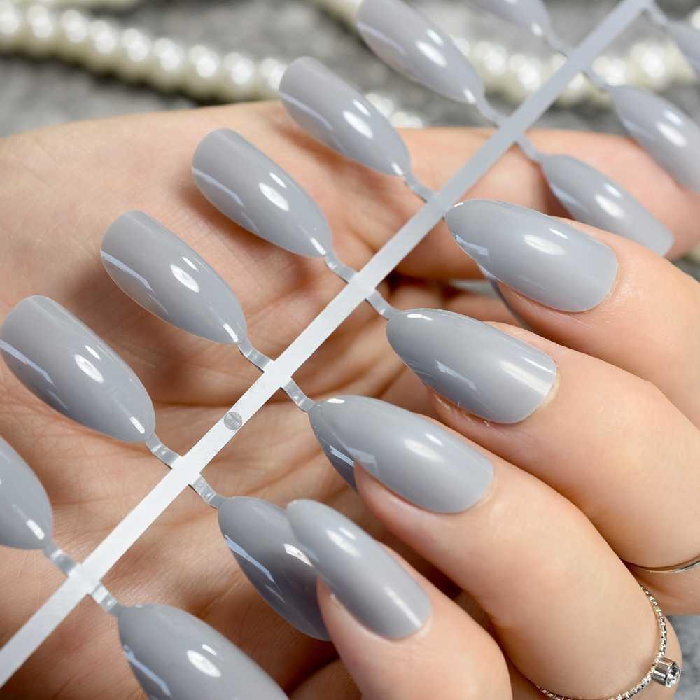 24Pcs Şeker Gri Kısa Stiletto Çiviler Moda Sivri Yanlış Nail DIY Nail Art Manikür Ürün