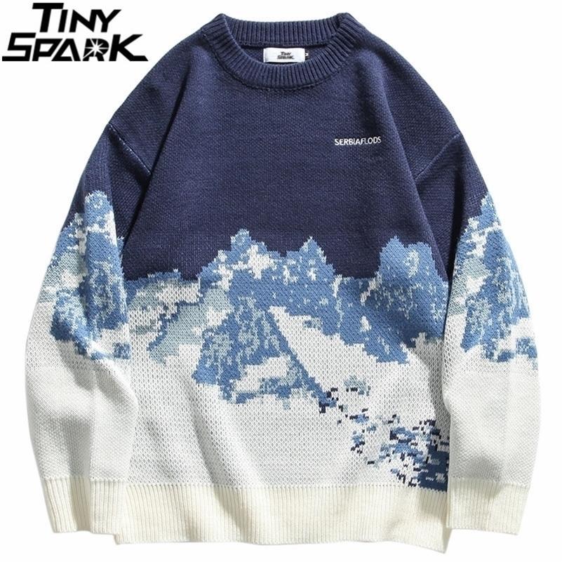 Мужчины хип-хоп уличная одежда вязаный свитер вышивка ретро винтажный снежный свитер хлопок Harajuku повседневный пуловер свитер черный 20111