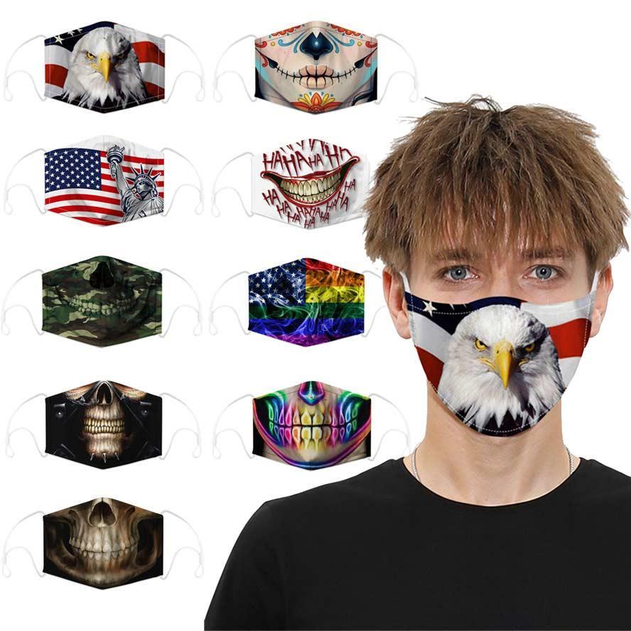 Mascarilla de cara Diseñador Skull Flag Mascarillas de algodón para hombres Mujeres Moda Reutilizable Deportes Cosplay Halloween Polvo A prueba de viento Facenas