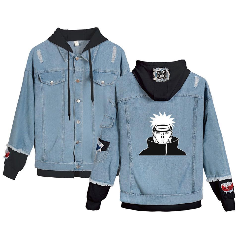 Anime Naruto Kış Erkekler Ceket ve Ceket Uchiha Itachi Kapşonlu Denim Ceket Kadın Moda Erkek Jean Ceket Dış Giyim Erkek Kovboy