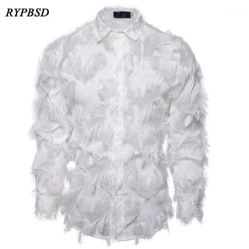 Sexy feder spitze shirt männer 2021 mode floral langarm dress shirts männer party nightclub transparent gothic stage kostüm1