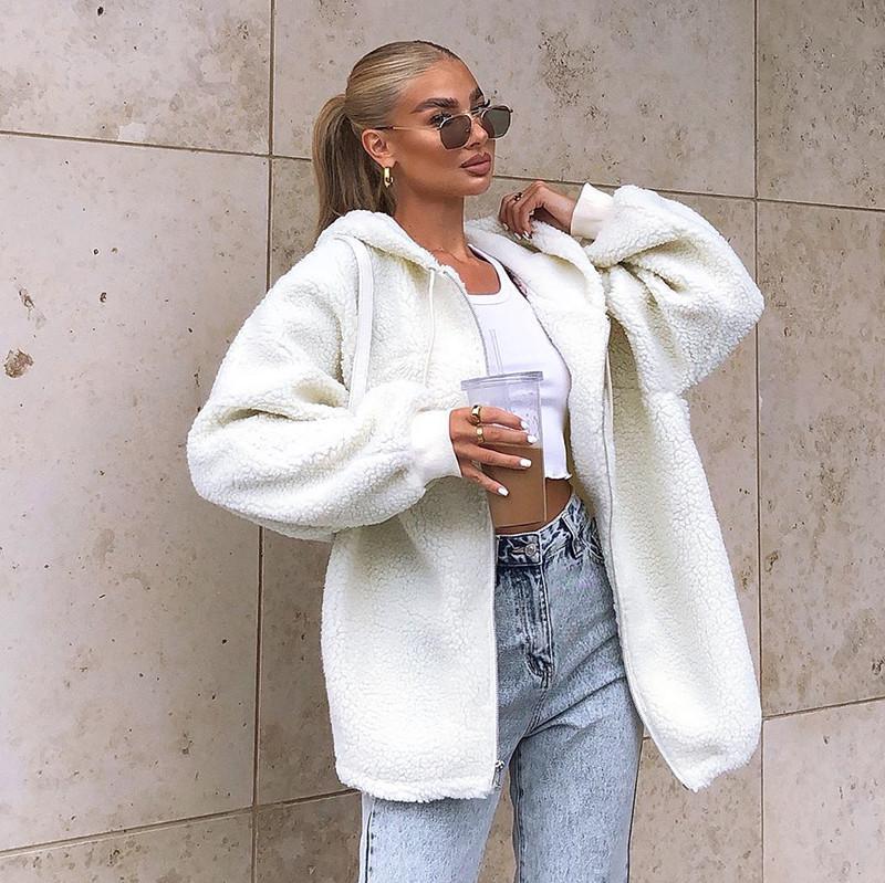 CHRONSTYLEWinter Warm Coat Women 2021 Faxu Fur Leather Jackets Outwear Plush Long Teddy Coat Femme Hooded Front Zipper Jackets