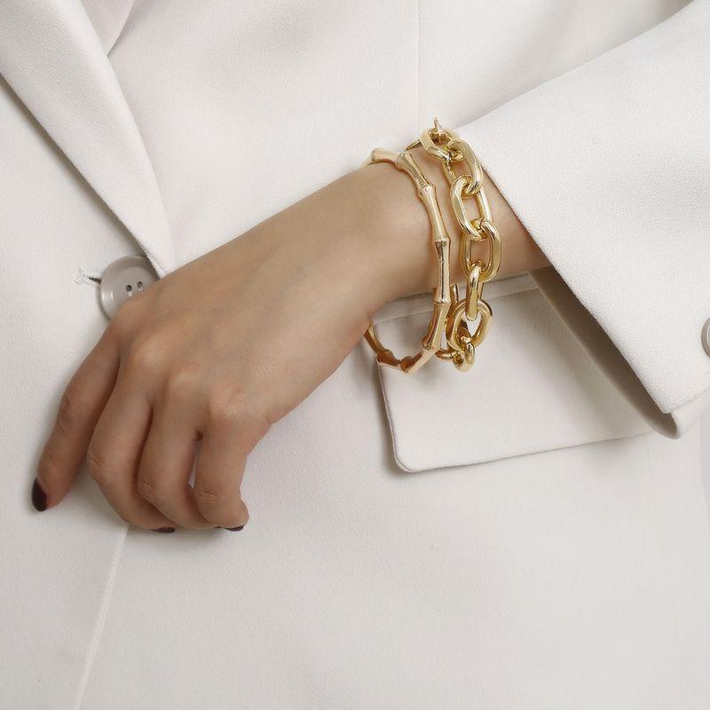 Bambus Gelenkkette Armband männliche Manschette Einschnapphalterung Armreif Modeschmuck goldene Mensarmbänder WRISTLET Juwel Mann Geschenke