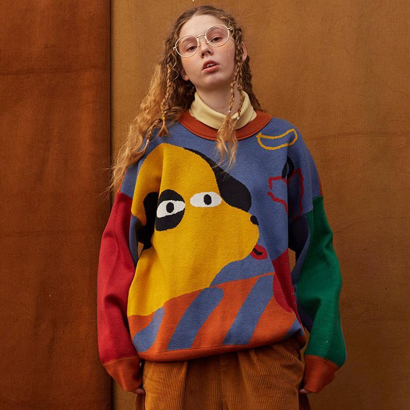 Мультфильм 2021 Новый Красивый Сетчатый свитер Женщина Дизайнерская Одежда Роскошная Осень Oe00 Yyuo