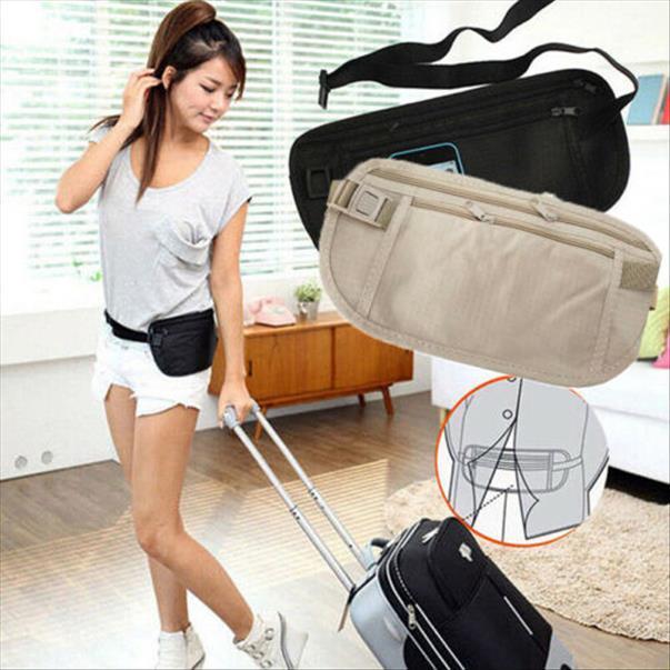 Nova marca de moda Nylon cintura sacos bolsa de viagem cintura Carteira Belt Bag Magro Segredo Segurança Dinheiro escondido Bag Passaporte Pouch