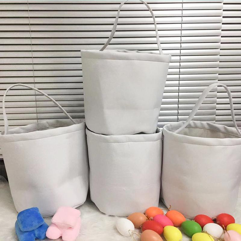 DIY White Sublimation Easter Candy Decoration Happy Children Handbag Eggs Hunting Bucket Creative Tote Gifts Baskets Easter Festival Pa Aesx