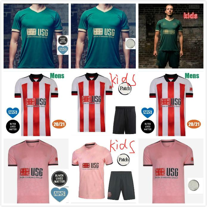 Kit enfants 20 21 Jerseys de football Mousset United 2020 2021 McBurnie Lundstram Norwood Sharwood Home Home Kit adulte Shirts Football