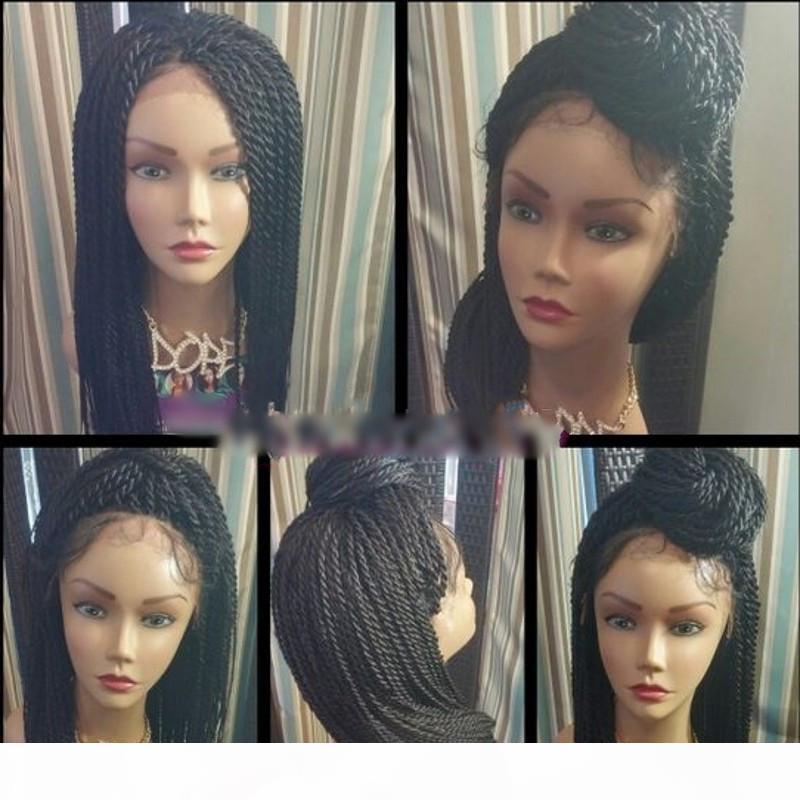 """Натуральный черный 2x Twist Clots Синтетические кружевные фронтские парики с детским волосом 24 """"дюймовый термостойкий крючком парик волос для чернокожих женщин"""
