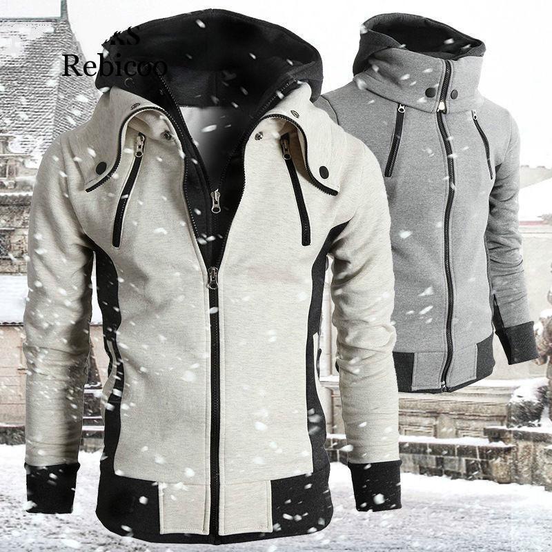 남자 재킷 2021 지퍼 남자 가을 겨울 캐주얼 양털 코트 폭격기 자켓 스카프 칼라 패션 후드 남성 outwear 슬림 피트 hoody