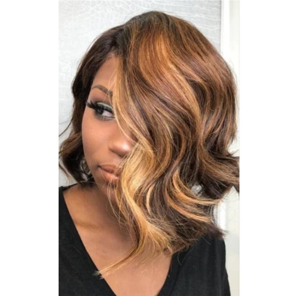 Aspectos destacados u color del pelo parte pelucas 180% de densidad Ombre Rubio onda natural brasileña del pelo de Remy sin cola pelucas para las mujeres